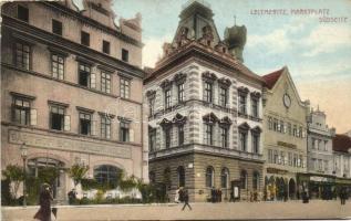 Litomerice, Leitmeritz; Marktplatz, Südseite, Gasthof Schwarzer Adler / marketplace, south side, inn (EK)