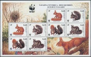 WWF: European red squirrel minisheet, WWF: Európai vörös mókus kisív