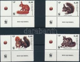 WWF: European red squirrel corner set, WWF: Európai vörös mókus ívsarki sor