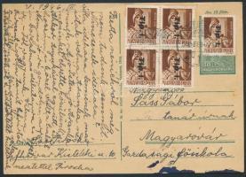 1946 (7.díjszabás) Távolsági levelezőlap Betűs 5xTlp.I./4f bérmentesítéssel