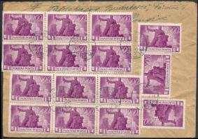 1946 (7.díjszabás) Levél Belgiumba Újjáépítés 15x1000P bérmentesítéssel / Cover to Belgium with 15 stamps