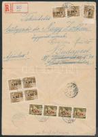 1946 (7.díjszabás) Ajánlott távolsági levél Betűs 7xTl.I/10f + 4xAjl.I/20f bérmentesítéssel (boríték szét nyitva)