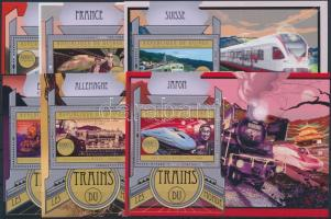 Locomotives mini sheet + blockset, Mozdonyok blokksor kisívsor + blokksor