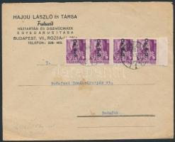 1946 (10.díjszabás) Távolsági levél Betűs Cs.5-2. ívszéli négyescsíkkal bérmentesítve korábbi díjszabás szerint