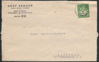 1946 (25.díjszabás) Helyi céges levél Adópengő 50eAP bérmentesítéssel / Local cover
