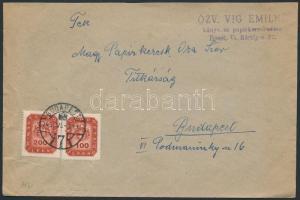 1946 (18.díjszabás) Helyi céges levél Milpengős 100mP + 200mP bérmentesítéssel, 60mP-vel túlbérmentesítve