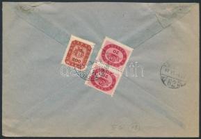 1946 (18.díjszabás) Helyi céges levél Milliós 20mP pár + Milpengős 200mP bérmentesítéssel