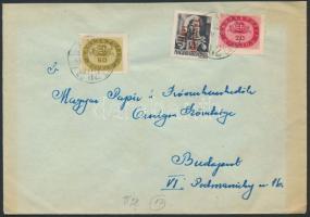 1946 (17.díjszabás) Helyi levél Betűs Távolsági levél/18f + Milliós 20mP + 50mP bérmentesítéssel