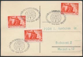 1946 (11.díjszabás) Alkalmi bélyegzésű levelezőlap Újjáépítés 3x3000P bélyeggel