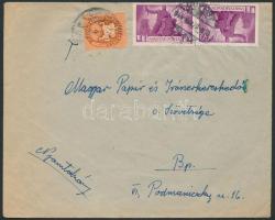 1946 (9.díjszabás) Nyomtatvány Újjáépítés 2x1000P + Lovasfutár 4eP bérmentesítéssel