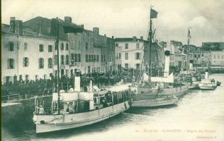 Ile de Ré, Saint-Martin-de-Ré, Depart des Forcats / Departure of the Convicts, port, steamships