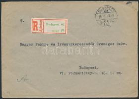1946 (8.díjszabás) Ajánlott helyi levél Betűs Cs.5-2. ívszéli ötöscsíkkal bérmentesítve