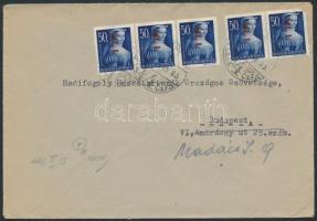 (7. díjszabás) Helyi levél Betűs 5xHl.I./50f bérmentesítéssel, Inflation cover