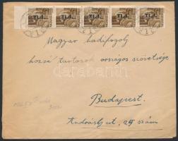 (7. díjszabás) Távolsági levél Betűs TL.I/10f ívszéli ötöscsíkkal bérmentesítve, Inflation cover
