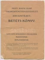 1934. Pesti Hazai Első Takarékpénztár-Egyesület Anyaintézet betéti könyve, bélyegzésekkel és két betéti bejegyzésről