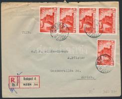 1946 (7. díjszabás) Ajánlott levél Zürichbe Újjáépítés 5x3000P bérmentesítéssel (hajtóka hiányzik)