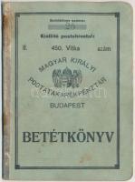1934. Magyar Királyi Postatakarékpénztár 450. Vitka (Vásárosnamény) postahivatalban kiállított betétkönyv, bejegyzésekkel, gerince ragasztott és rozsdafoltos