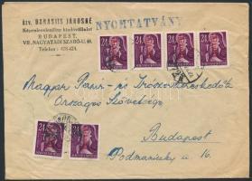 1946 (17. díjszabás) Nyomtatvány Betűs 6xAjánlás/24f bérmentesítéssel