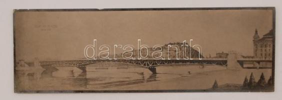 cca 1930 Horthy Miklós Duna híd (tervrajz nyomat) (kő elefántokkal?), 5×17 cm