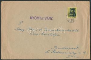 1946 (5. díjszabás) 2. súlyfokozatú Nyomtatvány Kisegítő 40P/8f bérmentesítéssel