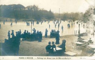 Paris, Bois de Boulogne, Grand Lac / park, lake, winter, ice skaters