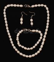 Gyöngy ékszer szett: nyaklánc (40 cm) , karkötő, fülbevaló / Original pearl jewelery set
