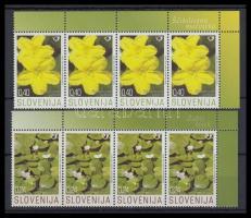 Hydrophyte closing value corner blocks of 4, Vízinövények záróértékek ívsarki négyes csíkokban