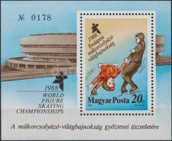 1988 Műkorcsolya ajándék blokk (18.000) / Mi block 195 present of the Post