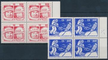 1965 Űrkutatás sor ívszéli négyestömbben Mi 1098-1099