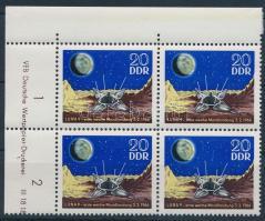1966 Űrkutatás bélyeg ívszéli négyestömbben Mi 1168