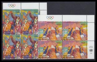 Modern Olympic Games set in corner block of 4, 100 évesek az újkori olimpiai játékok sor ívsarki négyestömbökben Mi 716-717