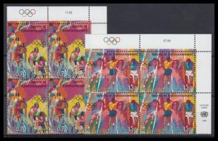 Modern Olympic Games set in corner blocks of 4, 100 évesek az újkori olimpiai játékok sor ívsarki négyestömbökben