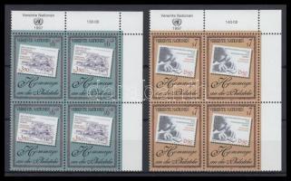 Stamp collecting set in corner blocks of 4, A bélyeggyűjtés tiszteletére sor ívsarki négyestömbökben