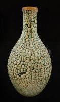 Mázas retro kerámia váza, jelzett (BK), apró lepattanással, m:27 cm