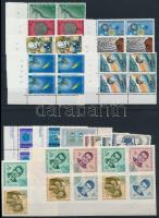Space Research 1964-1966 7 pairs + 8 blocks of 4 + 1 block of 8, Űrkutatás motívum 1964-1966 7 klf pár + 8 klf négyestömb + 1 nyolcastömb
