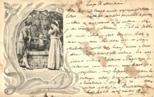 Humorous art nouveau postcard, Humoros szecessziós képeslap