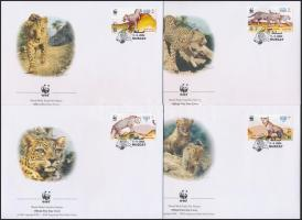 2004 WWF: Arab leopárd sor + sor 4 db FDC-n Mi 590-593