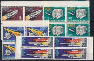 1963 Űrkutatás sor 4 értéke ívszéli négyestömbökben Mi 323-327 (hiányzik/missing Mi 325)