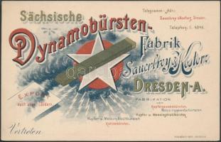 cca 1900 (elektr. motor- és dinamó-) Szénkefe-gyár litho reklámkártyája / Sächsische Dynamobürsten-Fabrik Sauerbrey-Kostorz Dresden, litho advertising 15x10 cm