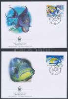 WWF: Halak sor 4 db FDC-n WWF Fishes set 4 FDC