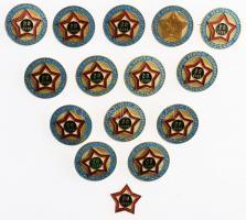 ~1980. Önkéntes Rendőri Szolgálatért 20 év után, zománcozott fém jelvények (14x) (25,5mm) T:2