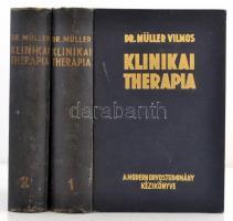 Dr. Müller Vilmos (szerk.): Klinikai Therapia. Budapest, 1940. Kiadói aranyozott egészvászon kötés, 854+865+III p. A könyvben számos fotó és illusztráció található. A borítója kopottas.