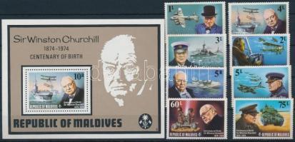 1974 Winston Spencer Churchill sor Mi 542-549 A + blokk 28A