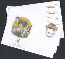 2003 WWF: Csíkos sakál sor Mi 762-765 4 db FDC-n
