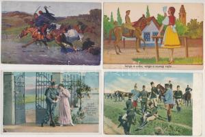 10 db RÉGI főként I. világháborús katonai témája motívumlap; huszárok / 10 mostly WWI military motive cards; Hungarian hussars
