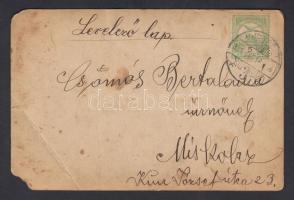 1911 Képeslap céglyukasztásos Turul bélyeggel