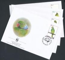 2003 WWF: Mauritius papagáj sor Mi 963-966 + sor 4 db FDC-n