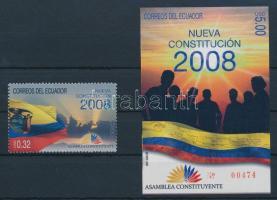 Constitution stamp + block, Alkotmány bélyeg + blokk