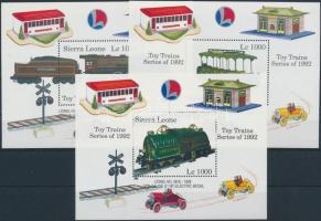 Stamp Exhibition GENOVA, Model trains mini sheet set + blockset, Bélyegkiállítás GENOVA, modell vonatok kisívsor + blokksor