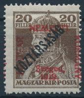 Szeged 1919 Károly/Köztársaság 20f Bodor vizsgálójellel (25.000)